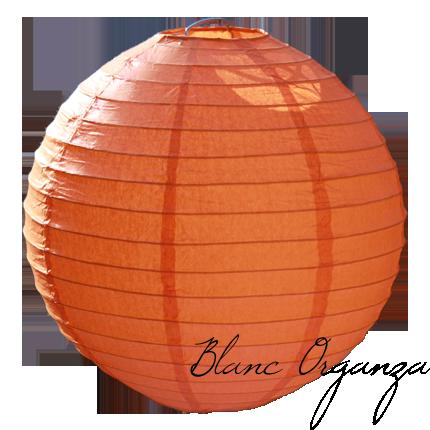 Lanterne en papier 20cm orange blanc organza - Lanterne en papier ...